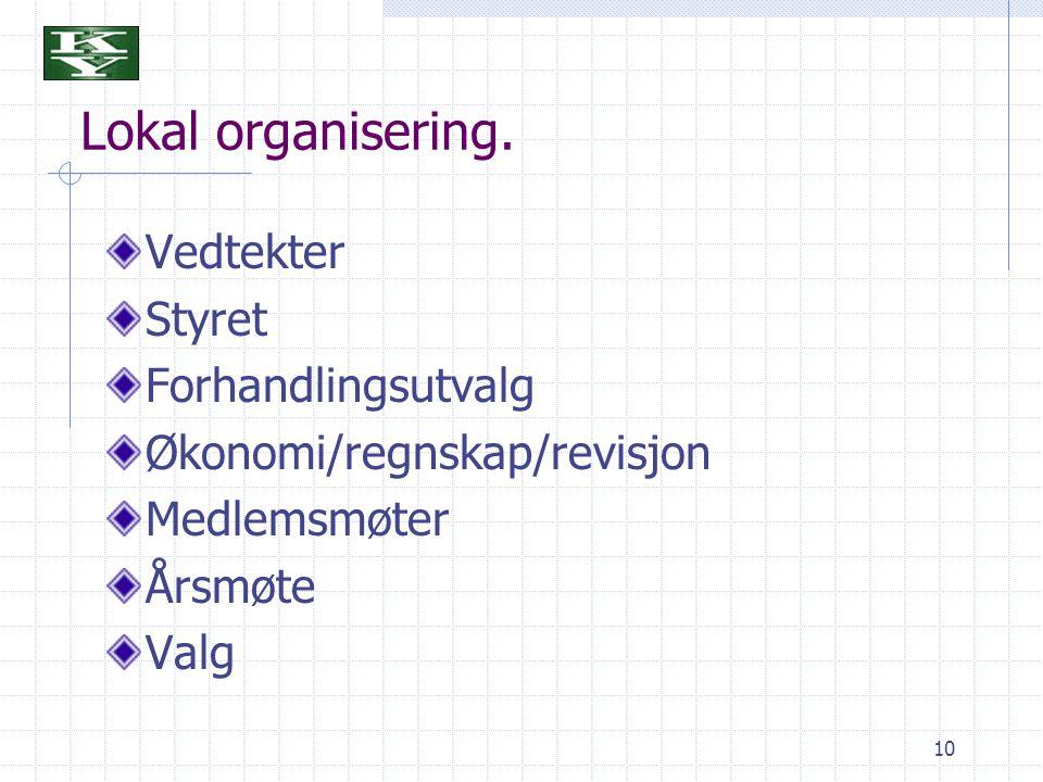 10 Lokal organisering. Vedtekter Styret Forhandlingsutvalg Økonomi/regnskap/revisjon Medlemsmøter Årsmøte Valg