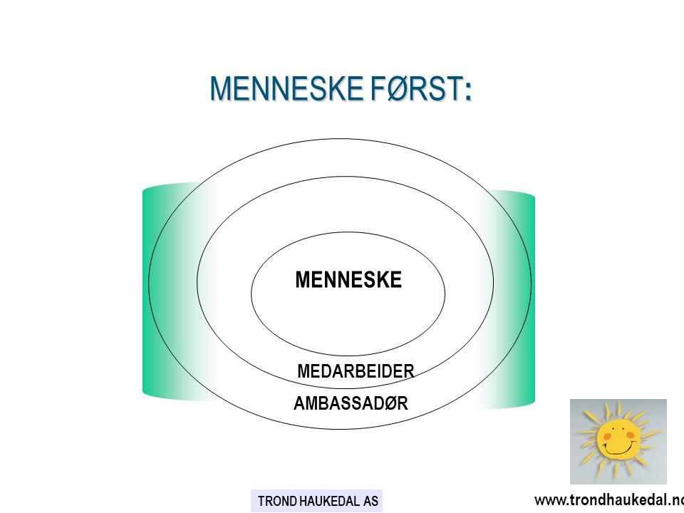 MENNESKE FØRST : MENNESKE MEDARBEIDER AMBASSADØR www.trondhaukedal.no TROND HAUKEDAL AS