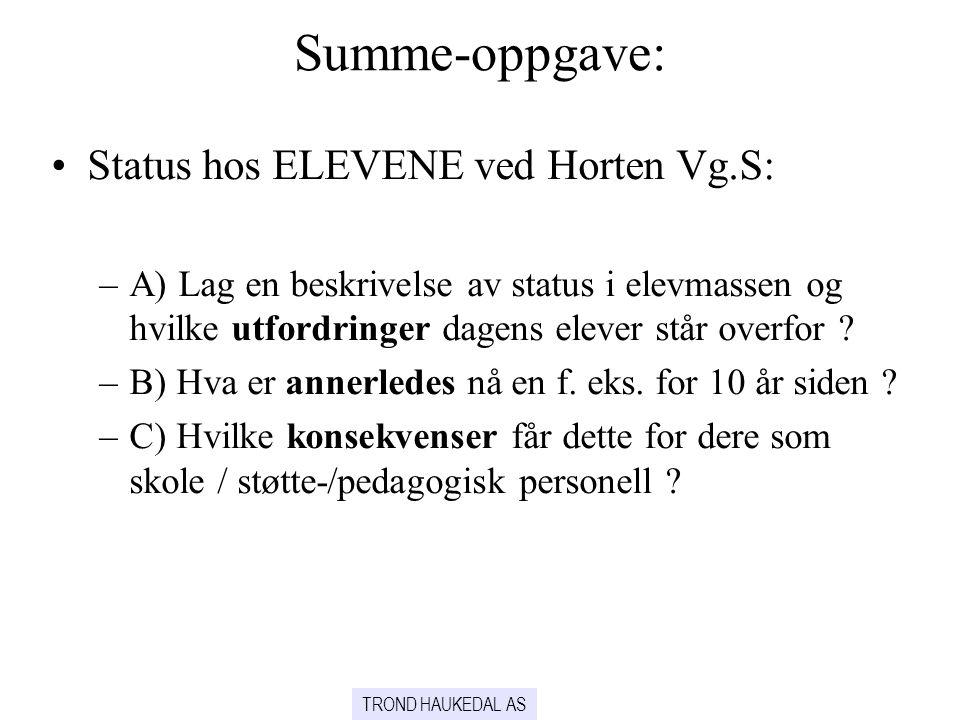 TROND HAUKEDAL AS Summe-oppgave: •Status hos ELEVENE ved Horten Vg.S: –A) Lag en beskrivelse av status i elevmassen og hvilke utfordringer dagens elev