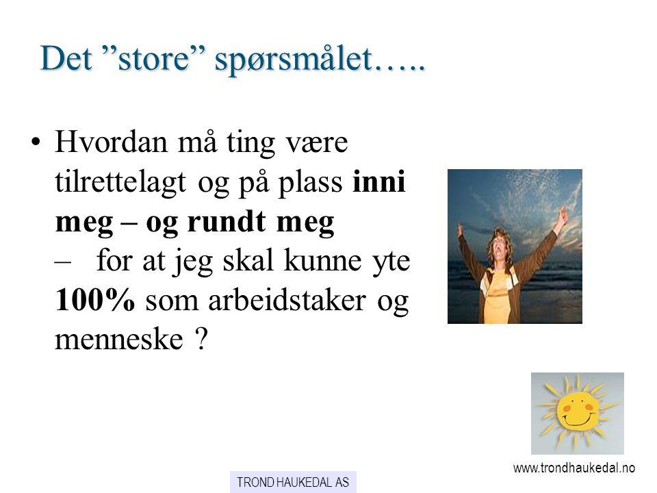 """Det """"store"""" spørsmålet….. www.trondhaukedal.no TROND HAUKEDAL AS •Hvordan må ting være tilrettelagt og på plass inni meg – og rundt meg – for at jeg s"""
