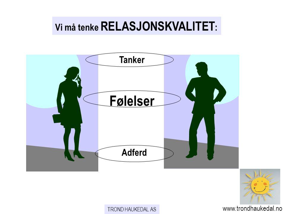 TROND HAUKEDAL AS www.trondhaukedal.no Vi må tenke RELASJONSKVALITET : Tanker Følelser Adferd