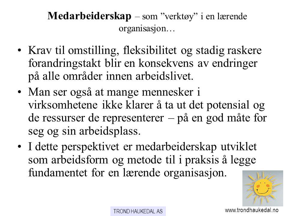 """TROND HAUKEDAL AS www.trondhaukedal.no Medarbeiderskap – som """"verktøy"""" i en lærende organisasjon… •Krav til omstilling, fleksibilitet og stadig rasker"""