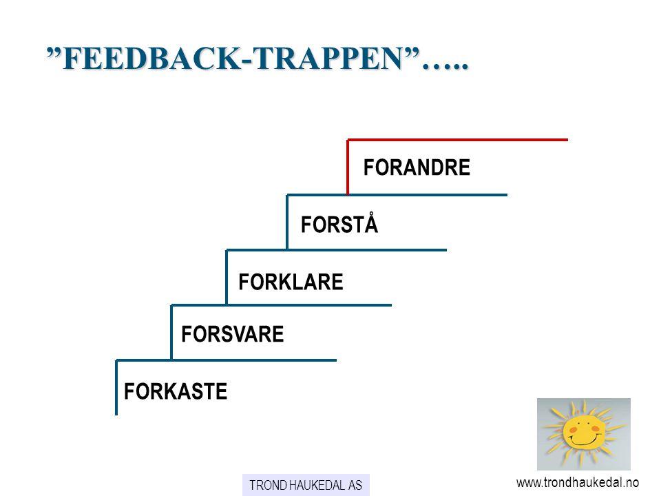 """""""FEEDBACK-TRAPPEN""""….. FORANDRE FORSTÅ FORKLARE FORSVARE FORKASTE www.trondhaukedal.no TROND HAUKEDAL AS"""