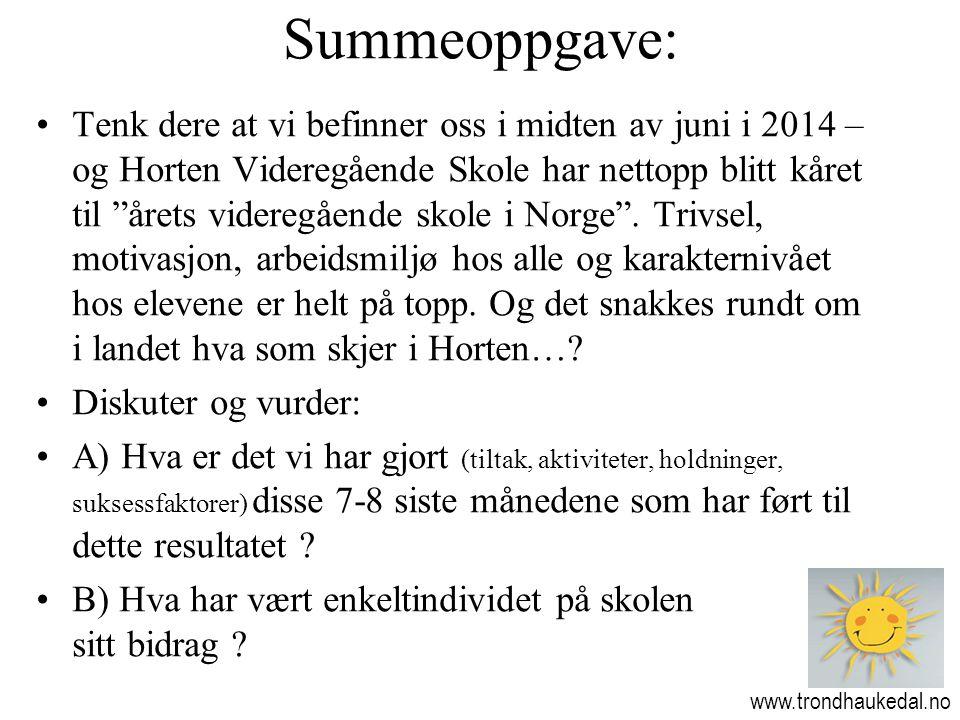 """Summeoppgave: www.trondhaukedal.no •Tenk dere at vi befinner oss i midten av juni i 2014 – og Horten Videregående Skole har nettopp blitt kåret til """"å"""