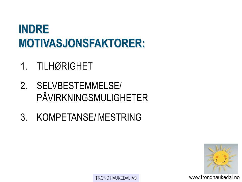 INDRE MOTIVASJONSFAKTORER: 1.TILHØRIGHET 2.SELVBESTEMMELSE/ PÅVIRKNINGSMULIGHETER 3.KOMPETANSE/ MESTRING www.trondhaukedal.no TROND HAUKEDAL AS