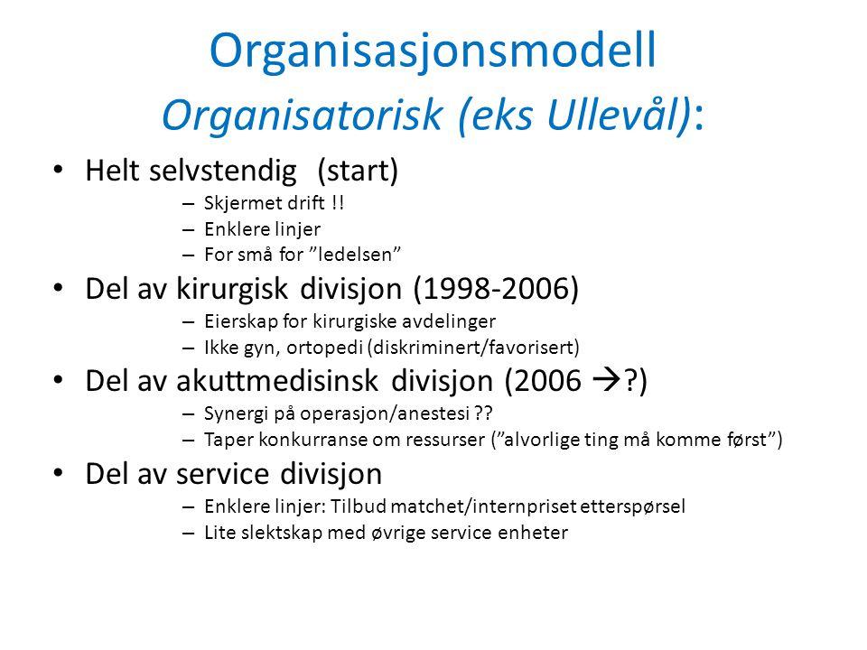 Organisasjonsmodell Organisatorisk (eks Ullevål) : • Helt selvstendig (start) – Skjermet drift !.