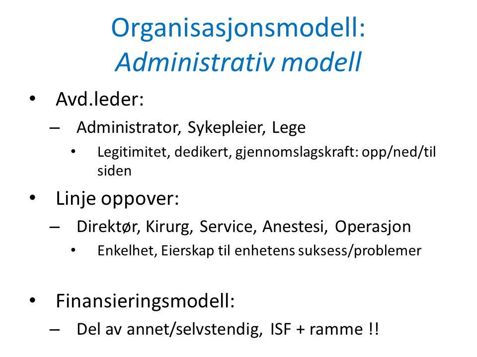Organisasjonsmodell: Administrativ modell • Avd.leder: – Administrator, Sykepleier, Lege • Legitimitet, dedikert, gjennomslagskraft: opp/ned/til siden • Linje oppover: – Direktør, Kirurg, Service, Anestesi, Operasjon • Enkelhet, Eierskap til enhetens suksess/problemer • Finansieringsmodell: – Del av annet/selvstendig, ISF + ramme !!