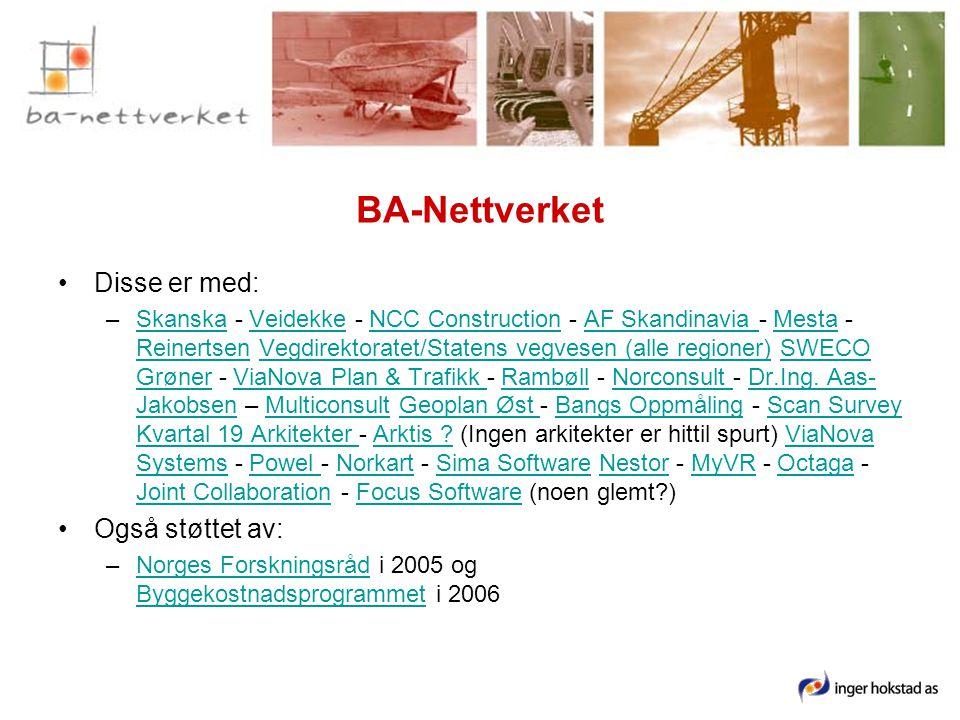 BA-Nettverket •Disse er med: –Skanska - Veidekke - NCC Construction - AF Skandinavia - Mesta - Reinertsen Vegdirektoratet/Statens vegvesen (alle regioner) SWECO Grøner - ViaNova Plan & Trafikk - Rambøll - Norconsult - Dr.Ing.