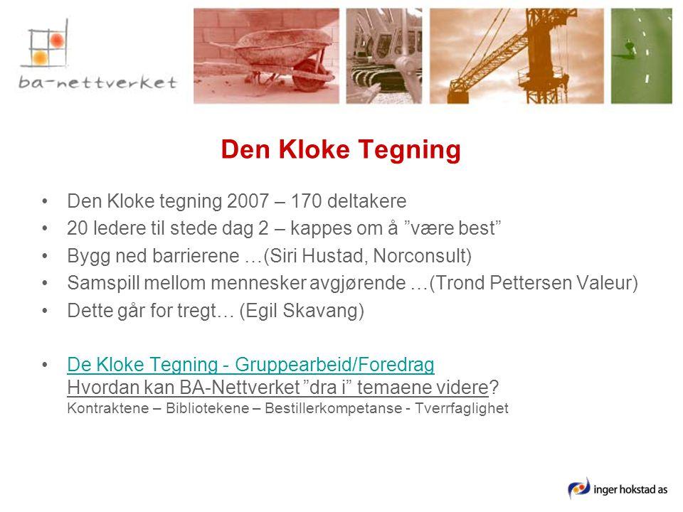 Den Kloke Tegning •Den Kloke tegning 2007 – 170 deltakere •20 ledere til stede dag 2 – kappes om å være best •Bygg ned barrierene …(Siri Hustad, Norconsult) •Samspill mellom mennesker avgjørende …(Trond Pettersen Valeur) •Dette går for tregt… (Egil Skavang) •De Kloke Tegning - Gruppearbeid/Foredrag Hvordan kan BA-Nettverket dra i temaene videre.