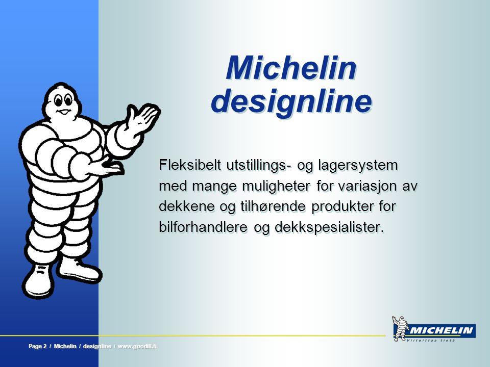 Page 2 / Michelin / designline / www.goodill.fi Michelin designline Fleksibelt utstillings- og lagersystem med mange muligheter for variasjon av dekke