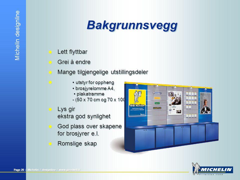 Michelin designline Page 20 / Michelin / designline / www.goodwill.fi Bakgrunnsvegg  Lett flyttbar  Grei å endre  Mange tilgjengelige utstillingsde