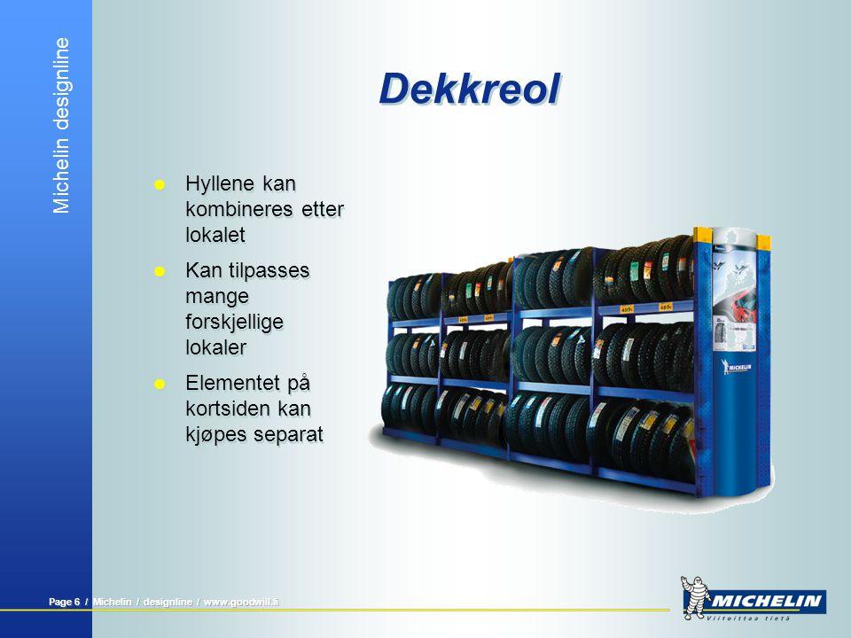 Michelin designline Page 6 / Michelin / designline / www.goodwill.fi Dekkreol  Hyllene kan kombineres etter lokalet  Kan tilpasses mange forskjellig