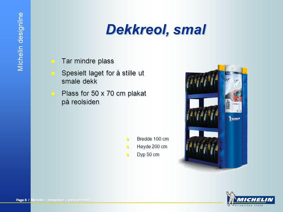 Michelin designline Page 8 / Michelin / designline / www.goodwill.fi Dekkreol, smal  Tar mindre plass  Spesielt laget for å stille ut smale dekk  P