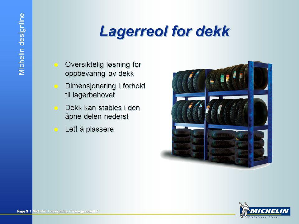 Michelin designline Page 9 / Michelin / designline / www.goodwill.fi Lagerreol for dekk  Oversiktelig løsning for oppbevaring av dekk  Dimensjonerin
