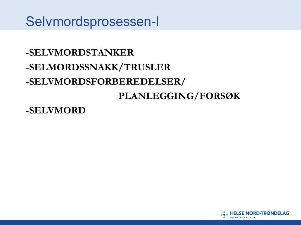 Selvmordsprosessen-I -SELVMORDSTANKER -SELMORDSSNAKK/TRUSLER -SELVMORDSFORBEREDELSER/ PLANLEGGING/FORSØK -SELVMORD