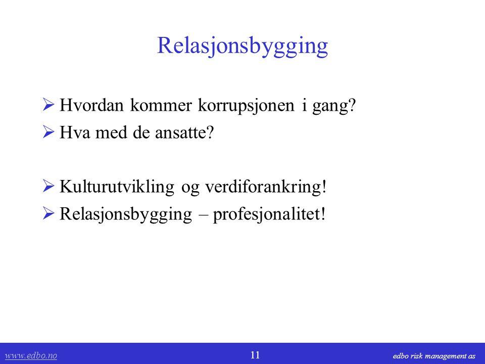 www.edbo.no www.edbo.no 11 edbo risk management as Relasjonsbygging  Hvordan kommer korrupsjonen i gang.