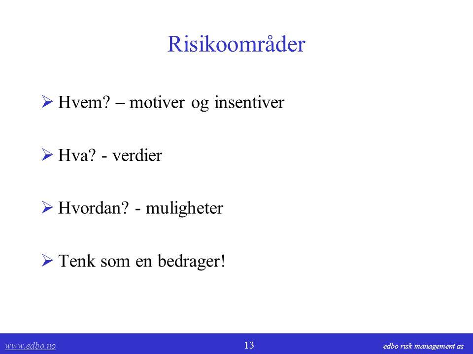 www.edbo.no www.edbo.no 13 edbo risk management as Risikoområder  Hvem? – motiver og insentiver  Hva? - verdier  Hvordan? - muligheter  Tenk som e