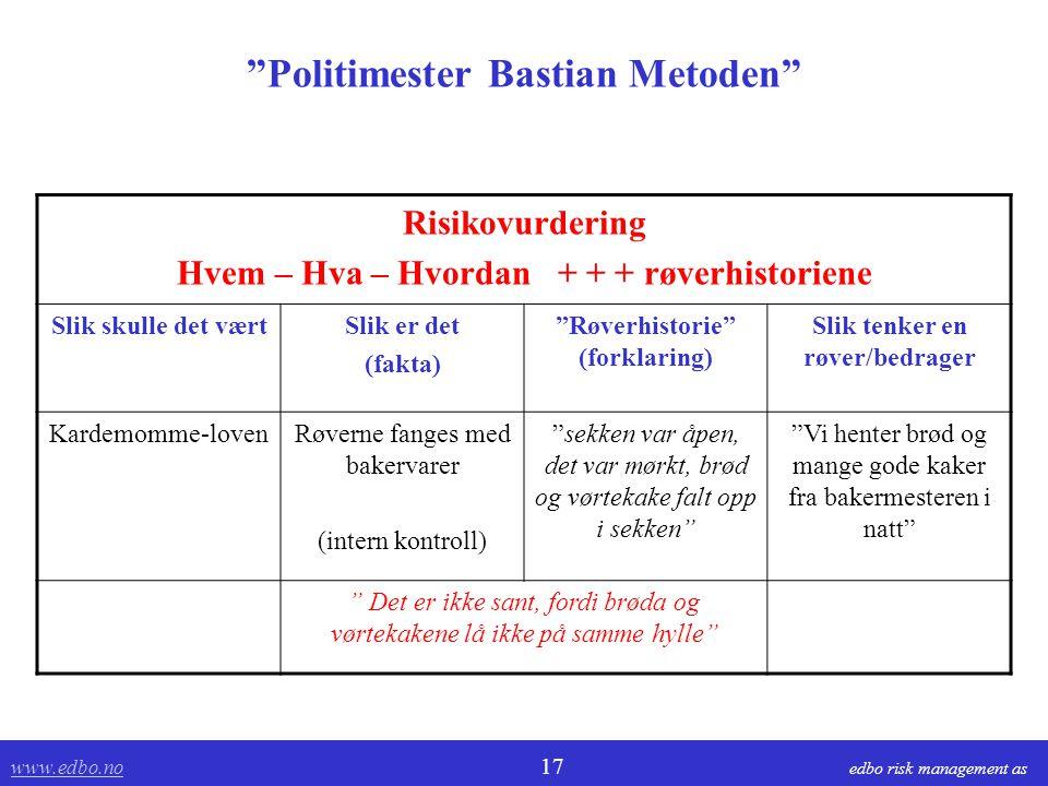 """www.edbo.no www.edbo.no 17 edbo risk management as """"Politimester Bastian Metoden"""" Risikovurdering Hvem – Hva – Hvordan + + + røverhistoriene Slik skul"""