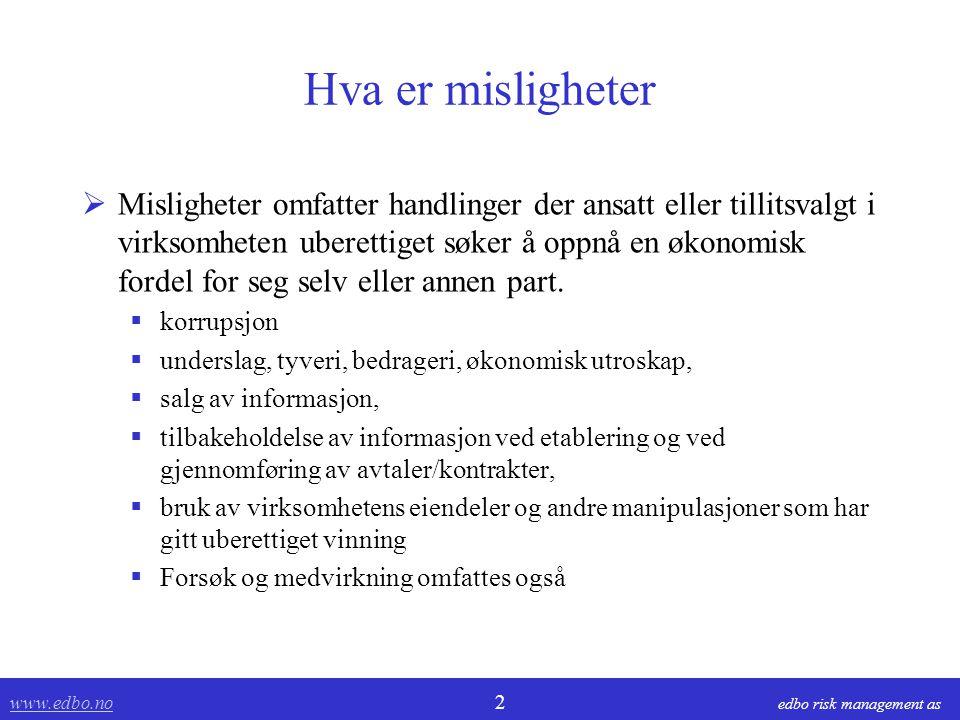 www.edbo.no www.edbo.no 13 edbo risk management as Risikoområder  Hvem.