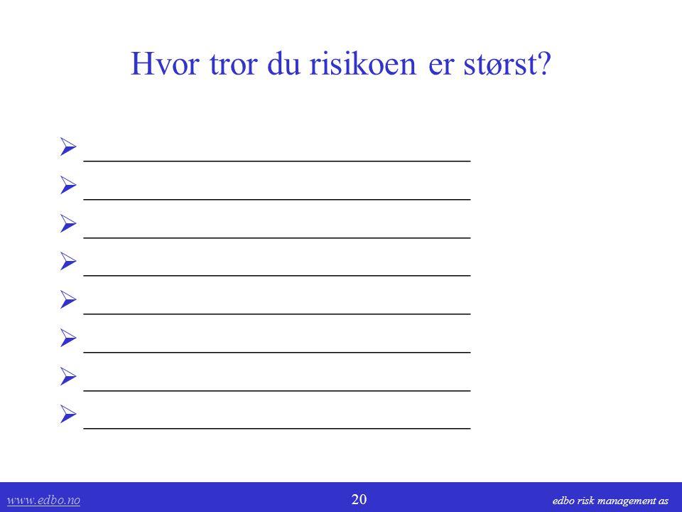 www.edbo.no www.edbo.no 20 edbo risk management as Hvor tror du risikoen er størst?  _____________________________