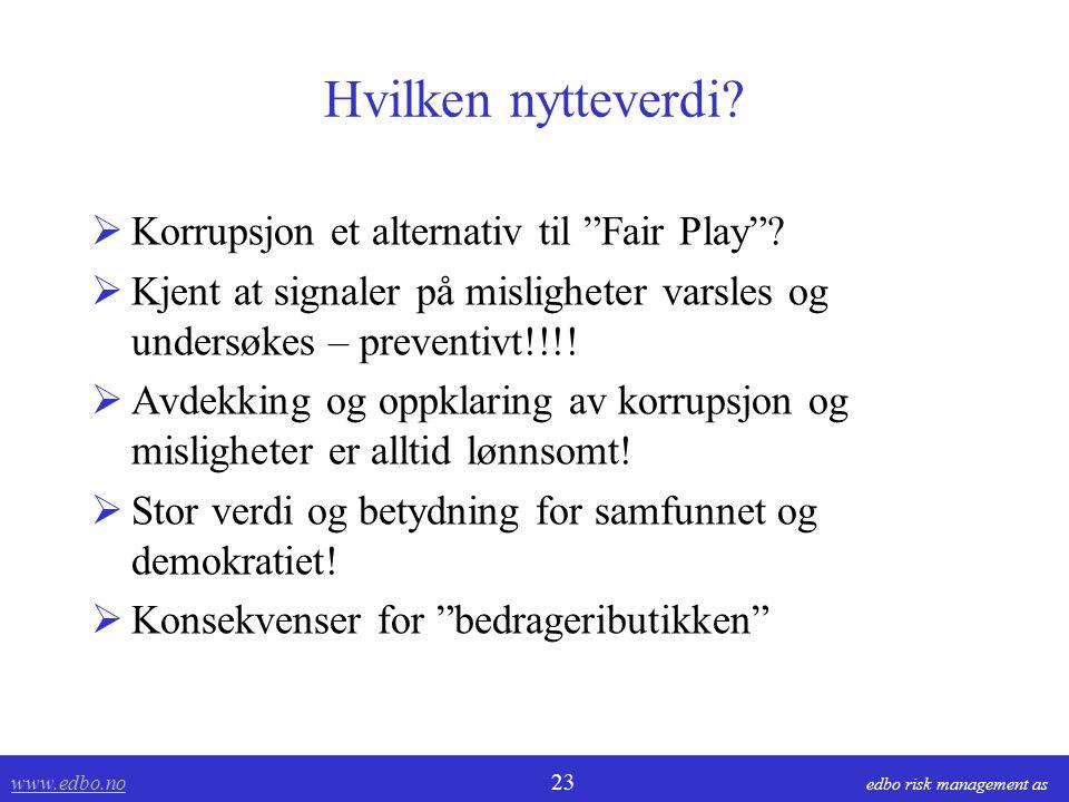 """www.edbo.no www.edbo.no 23 edbo risk management as Hvilken nytteverdi?  Korrupsjon et alternativ til """"Fair Play""""?  Kjent at signaler på misligheter"""