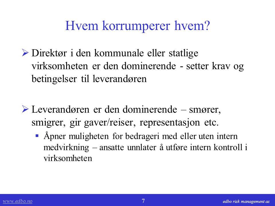 www.edbo.no www.edbo.no 7 edbo risk management as Hvem korrumperer hvem.