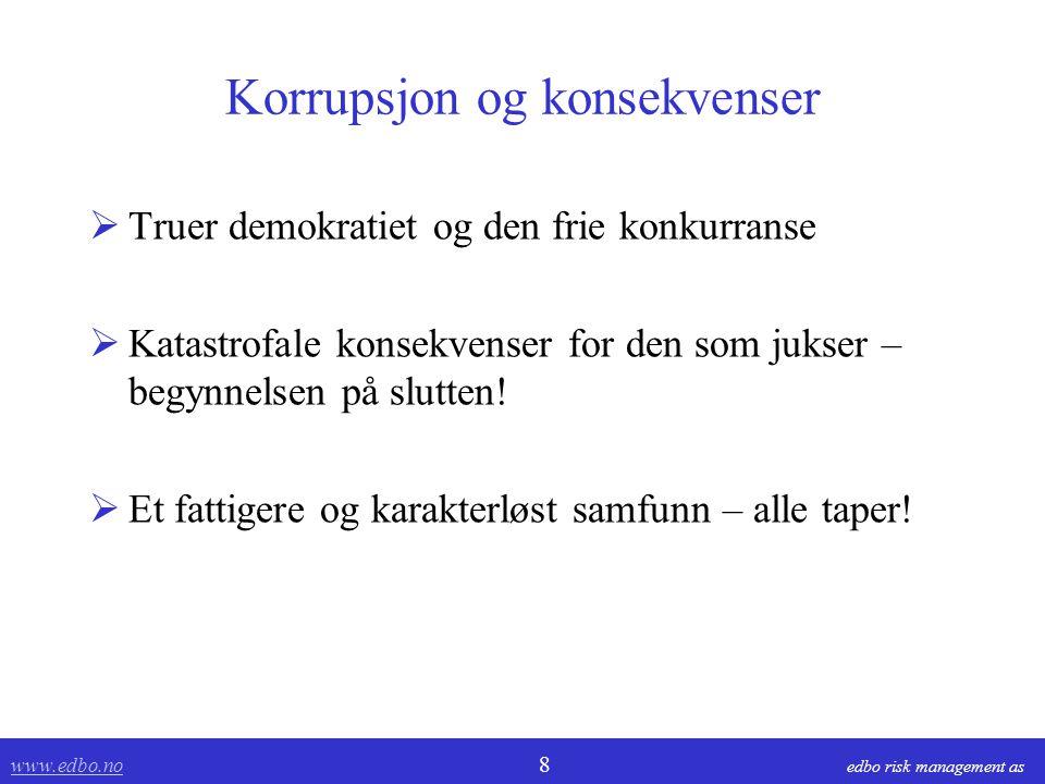 www.edbo.no www.edbo.no 9 edbo risk management as Kommune/Stat Privat AS Leverandør Fakturert omsetning fra leverandør: - skjulte avtaler - overfakturering - fiktive fakturaer Signaler ved: - Normavvik ved innkjøp - Avtale - Manglende etterlevelse - Attestasjon og anvisning - Bokføringen - rutine - Transaksjonene - data - Salgsdokumenter og bilag - Observasjoner - Leverandørens regnskap Trusler: