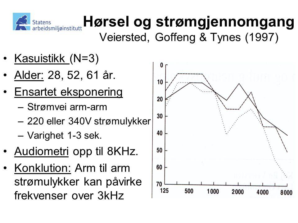 Hørsel og strømgjennomgang Veiersted, Goffeng & Tynes (1997) •Kasuistikk (N=3) •Alder: 28, 52, 61 år.