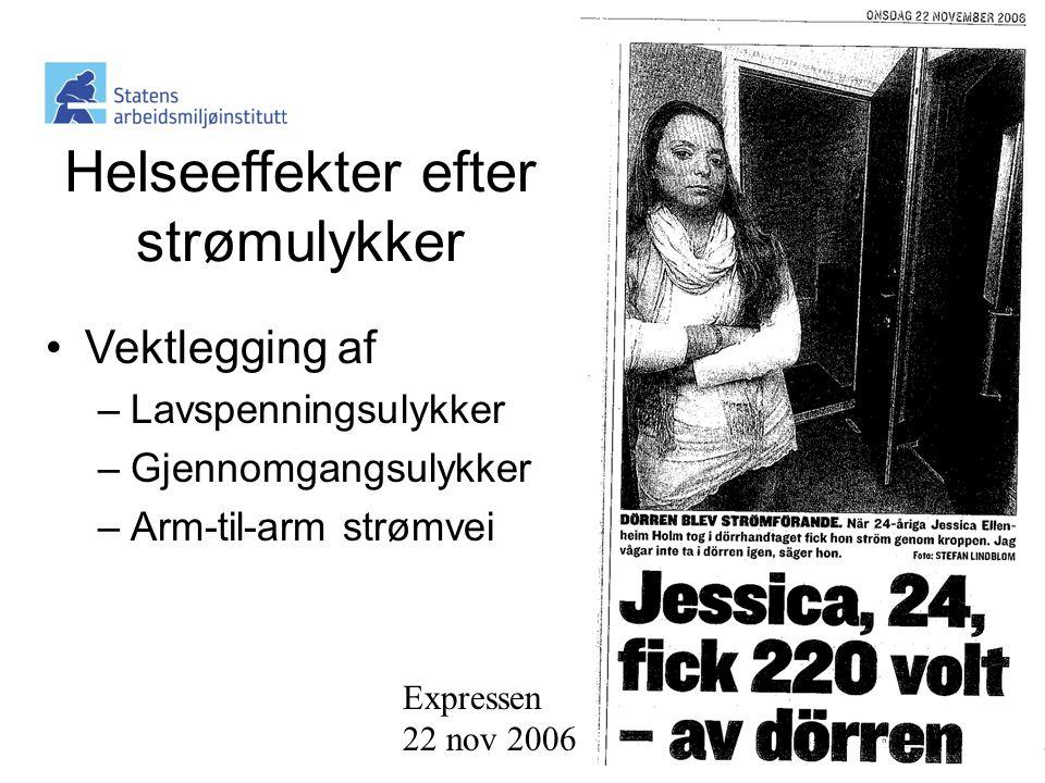 Expressen 22 nov 2006 Helseeffekter efter strømulykker •Vektlegging af –Lavspenningsulykker –Gjennomgangsulykker –Arm-til-arm strømvei