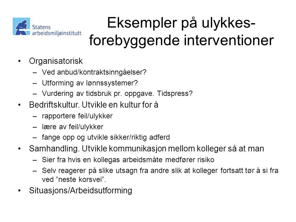Eksempler på ulykkes- forebyggende interventioner •Organisatorisk –Ved anbud/kontraktsinngåelser.