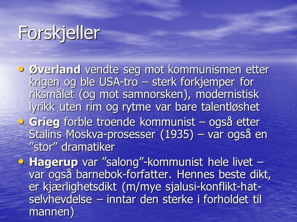 Forskjeller • Øverland vendte seg mot kommunismen etter krigen og ble USA-tro – sterk forkjemper for riksmålet (og mot samnorsken), modernistisk lyrik