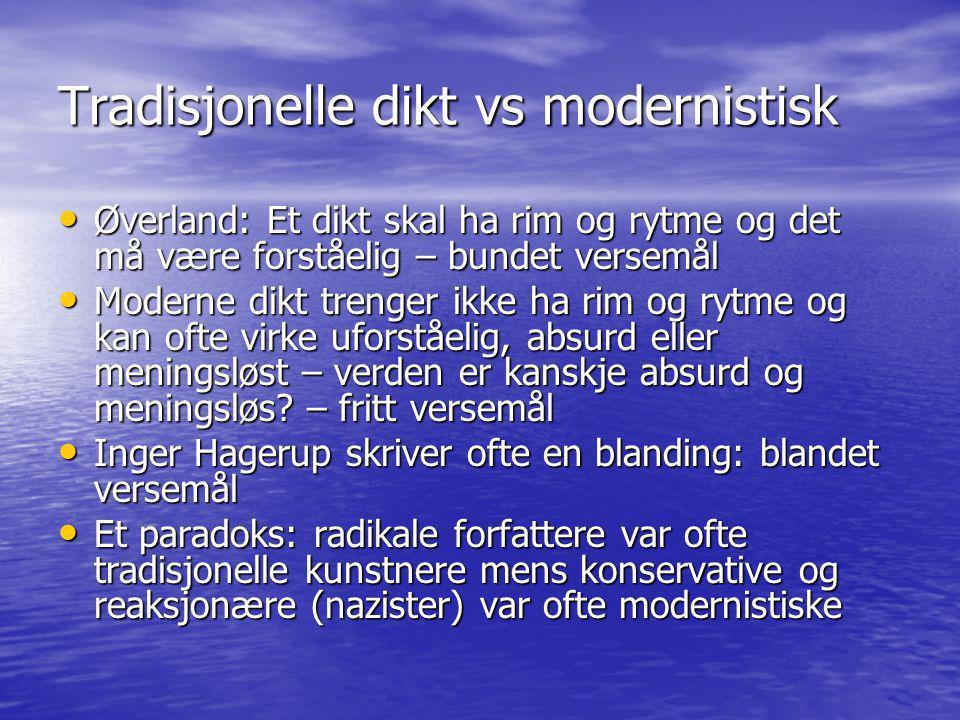 Tradisjonelle dikt vs modernistisk • Øverland: Et dikt skal ha rim og rytme og det må være forståelig – bundet versemål • Moderne dikt trenger ikke ha