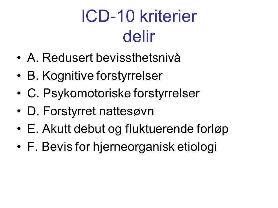 2 typer delir: •Hyperaktiv agitert, vandrende •Hypoaktiv apati, tretthet •Blandingsform •Differensialdiagnoser: •Demens •Depresjon •Ikke-organiske psykoser