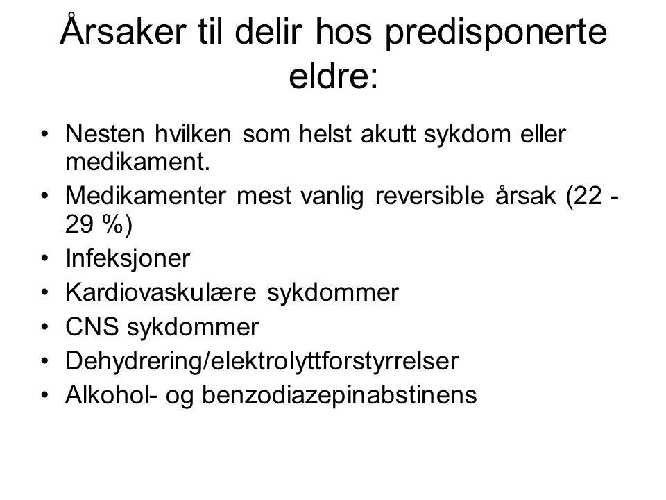 MedikamentEvidens -nivå Indikasjo n Døgndose (peroral) KontraindikasjonerBivirkninger Haloperidol (Haldol) A-BDelirium0,8-28 mgForlenget QT-tidEkstrapyramidal e Risperidone (Risperdal) BDelirium0,5-2 mgKardiovaskulær lidelse / økt risiko for slik lidelse Kardiovaskulære hendelser Olanzapine (Zyprexa) BDelirium2,5-13,5 mgKardiovaskulær lidelse / økt risiko for slik lidelse Kardiovaskulære hendelser Klorpromazi n (Largactil) BDelirium10-70 mgNedsatt bevissthet grunnet intoksikasjon Ekstrapyramidal e, sedasjon, blodtrykksfall Midazolam (Dormicum) BUro, agitasjon 30-100 mgKjent overfølsomhetRespirasjons- depresjon Clomethiazo l (heminevrin) CUro, agitasjon 300 mg x 3-4 / 600 mg vesp Svekket lungefunksjon Blodtrykksfall, forstyrret respirasjon
