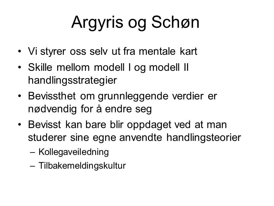 Argyris og Schøn •Vi styrer oss selv ut fra mentale kart •Skille mellom modell I og modell II handlingsstrategier •Bevissthet om grunnleggende verdier