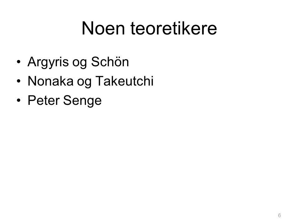 6 Noen teoretikere •Argyris og Schön •Nonaka og Takeutchi •Peter Senge