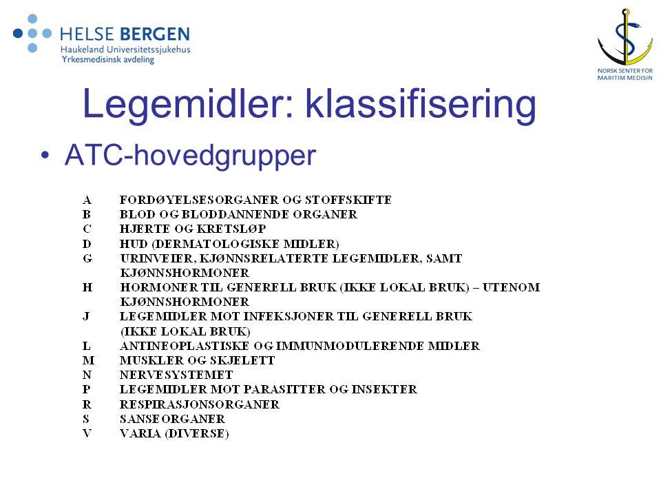 Legemidler: klassifisering •ATC-hovedgrupper