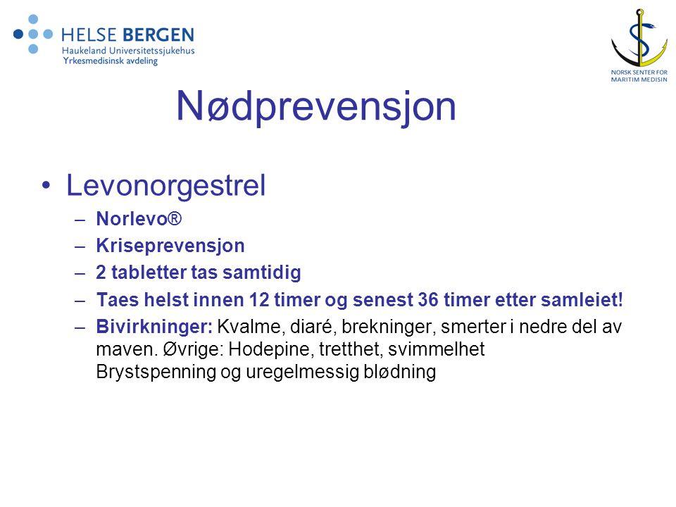 Nødprevensjon •Levonorgestrel –Norlevo® –Kriseprevensjon –2 tabletter tas samtidig –Taes helst innen 12 timer og senest 36 timer etter samleiet.