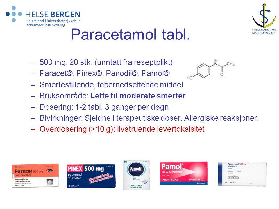 Paracetamol tabl.–500 mg, 20 stk.