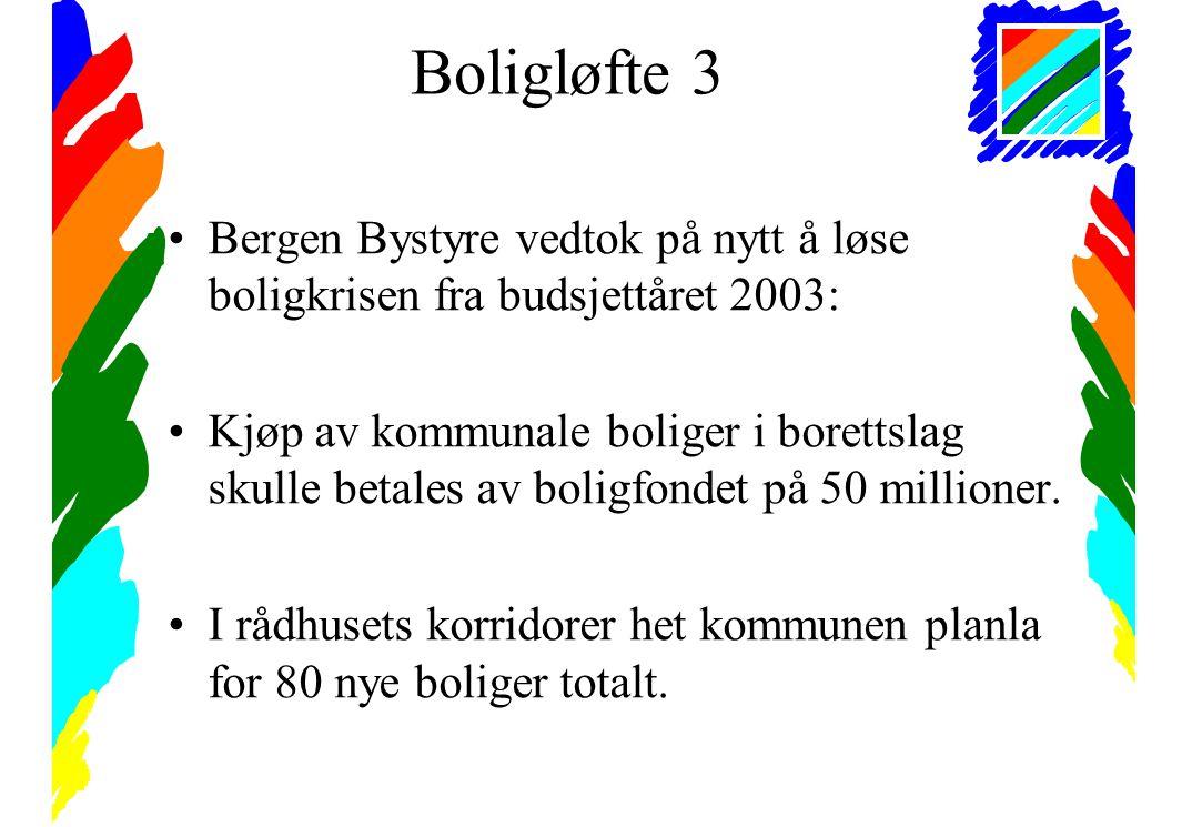 Boligløfte 3 •Bergen Bystyre vedtok på nytt å løse boligkrisen fra budsjettåret 2003: •Kjøp av kommunale boliger i borettslag skulle betales av boligfondet på 50 millioner.