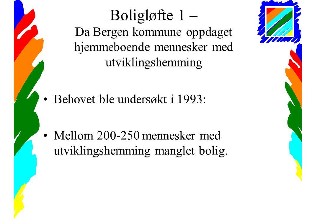 Boligløfte 1 – Da Bergen kommune oppdaget hjemmeboende mennesker med utviklingshemming •Behovet ble undersøkt i 1993: •Mellom 200-250 mennesker med utviklingshemming manglet bolig.