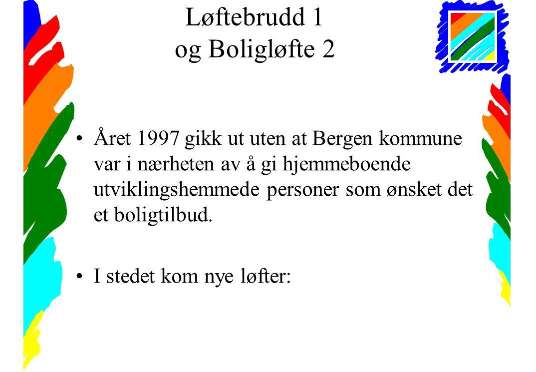 Løftebrudd 1 og Boligløfte 2 •Året 1997 gikk ut uten at Bergen kommune var i nærheten av å gi hjemmeboende utviklingshemmede personer som ønsket det et boligtilbud.