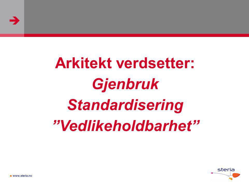 """  www.steria.no Arkitekt verdsetter: Gjenbruk Standardisering """"Vedlikeholdbarhet"""""""