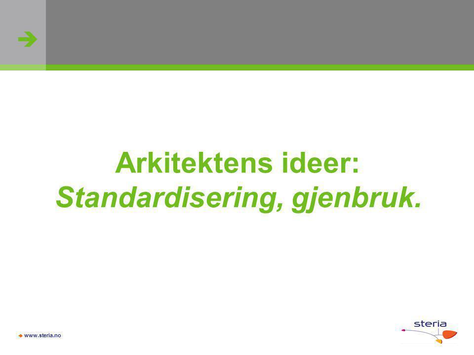   www.steria.no Arkitektens ideer: Standardisering, gjenbruk.