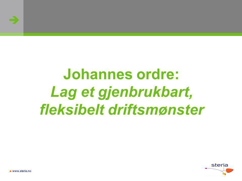   www.steria.no Johannes ordre: Lag et gjenbrukbart, fleksibelt driftsmønster
