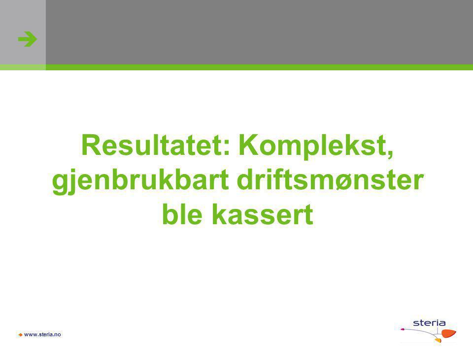   www.steria.no Resultatet: Komplekst, gjenbrukbart driftsmønster ble kassert