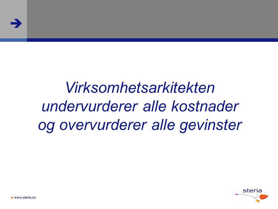  www.steria.no  Virksomhetsarkitekten undervurderer alle kostnader og overvurderer alle gevinster