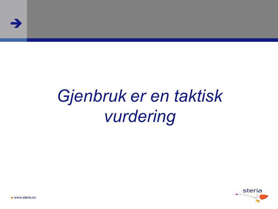  www.steria.no  Gjenbruk er en taktisk vurdering