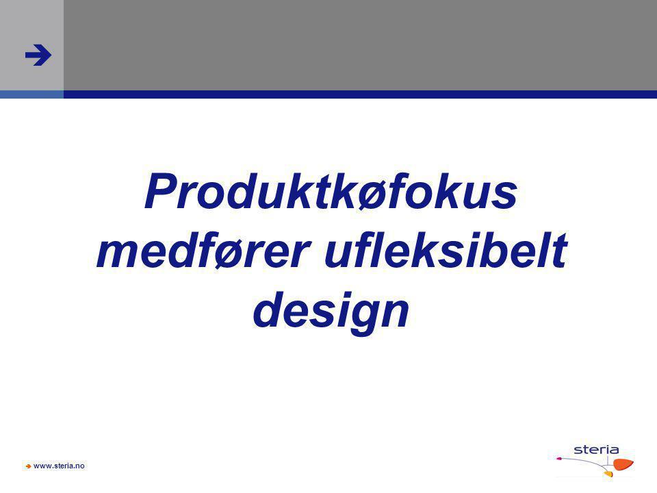  www.steria.no  Produktkøfokus medfører ufleksibelt design