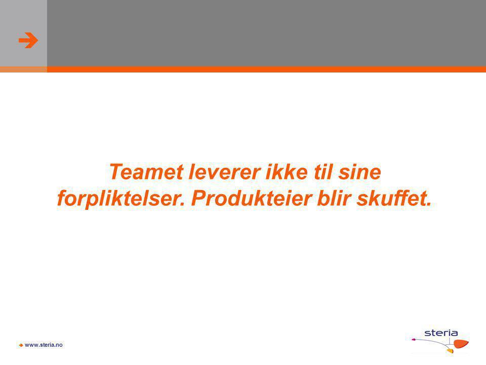   www.steria.no Teamet leverer ikke til sine forpliktelser. Produkteier blir skuffet.